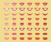 Glamoureuze glanzend schijnt vrouwelijke lippen in licht oranje kleuren — Stockvector