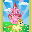 Fairytale landscape with pink magic castle and unicorn — Stock Vector