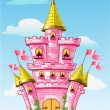 Magical fairytale pink castle with flags on summer background — Stock vektor
