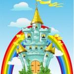 Magical fairytale blue castle with flags and rainbow — Stock Vector