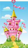 Magical fairytale pink castle with flags on summer background — Stock Vector