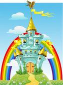 Château de conte de fées magique bleu avec drapeaux et arc-en-ciel — Vecteur