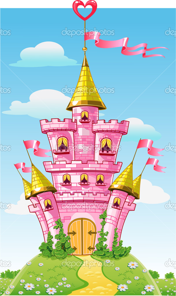 Magical fairytale pink castle with flags on summer background — Image vectorielle #5996922