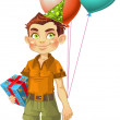 A boy with a gift for the birthday party — Stock Vector
