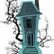 Stock Vector: Haunted halloween witch house isolated on white background