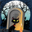 Halloween decoration - a grave with a black cat in the night - Stock Vector