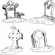 Scary tombstones in Halloween night. outlines - Stock Vector