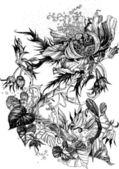 Openwork floral design with bindweed — Stock Vector