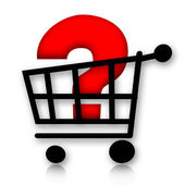 Shopping cart with question mark — Stock Photo