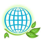 Zelené větve s kapkou na modrý glóbus — Stock vektor