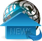Blauwe pijl over de hele wereld met een huis — Stockvector