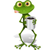 Frog with cup coffee — Stock Vector