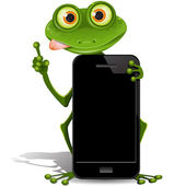 Frog and cellular telephone — Stock Vector