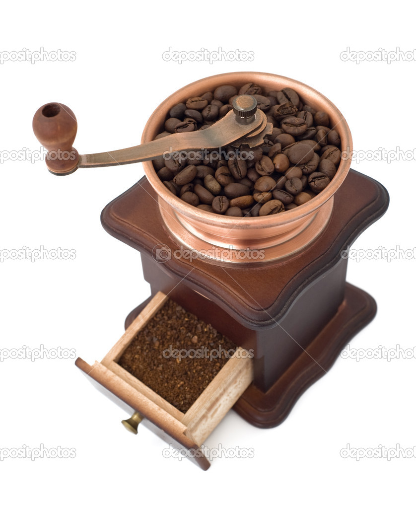 Coffee mill with open box top view  Stock Photo #6420012