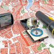 Stock Photo: GPS, map, compass, Flashlight