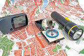 GPS, map, compass, Flashlight — Stock Photo