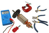 Tools for home electrical repair — Stock Photo