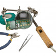 Stock Photo: Magnifier and soldering iron