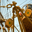 Sailboat wooden marine rigs and ropes — Stock Photo #6708895