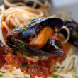 Stock Photo: Italian pasta with seafood