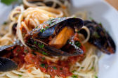 Italian pasta with seafood — Stock Photo