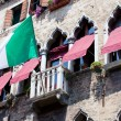 Italian flag on a balcony, Venice — Stock Photo