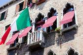 Italian flag on a balcony, Venice — Stock Photo