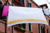 White laundry hanging to dry — Stock Photo
