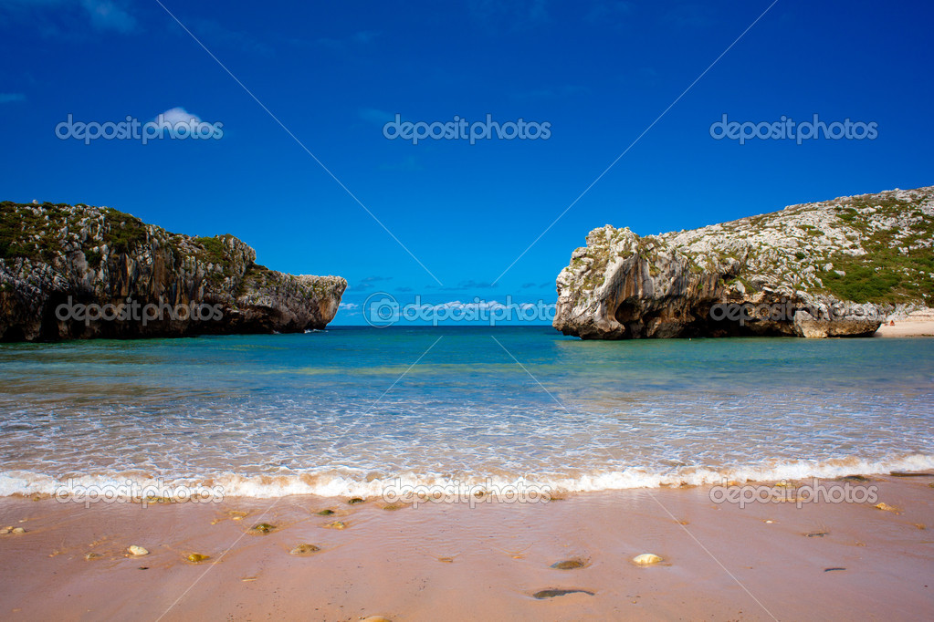 Beach of Cuevas del Mar, Nueva de Llanes - Asturias in Spain  Stock Photo #6529746