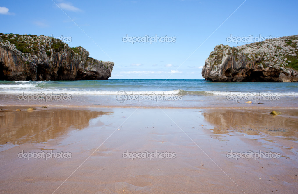 Beach of Cuevas del Mar, Nueva de Llanes - Asturias in Spain  Stock Photo #6529803