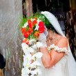 Bride with flower's bouquet — Stock Photo