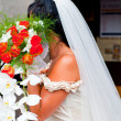Bride with flower's bouquet — Stock fotografie