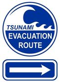 Tsunami Evacuation Route Sign — Cтоковый вектор