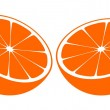 Orange Bisected In Half - Stock Vector
