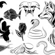Stock Vector: Set of various tattoos