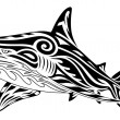 Shark, tribal tattoo — Stock Vector