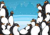 水平ペンギン背景 — ストックベクタ