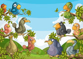Pássaros nas árvores — Vetorial Stock