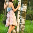 Girl in a birch grove — Stock Photo