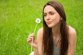 Girl with dandelion — Foto Stock