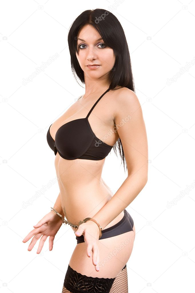Attractive woman in black linen and handcuffs — Stock Photo #6695988