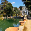 Tivoli, Italia. Garden, pool and fountain — Stock Photo