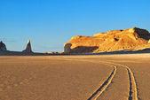 Sahara, the road in the desert — Stock Photo