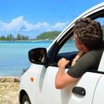 motorista veio para a beira-mar — Foto Stock