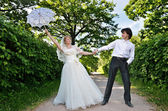 Blonde bride and groom — Stock Photo