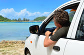 Driver came to the sea shore — Stock Photo