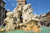 Detail of fountain of four rivers plaza Navona Roma — Stock Photo