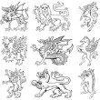 Royalty-Free Stock Vector Image: Heraldic monsters vol III