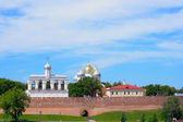 View on a fortification, the Sofia Cathedral and a cathedral belfry — Stock Photo