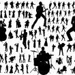 Music vector silhouettes - Stok Vektr